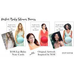 Baby Shower Favor - Custom EOS Lip Balm Baby Bump Note Card