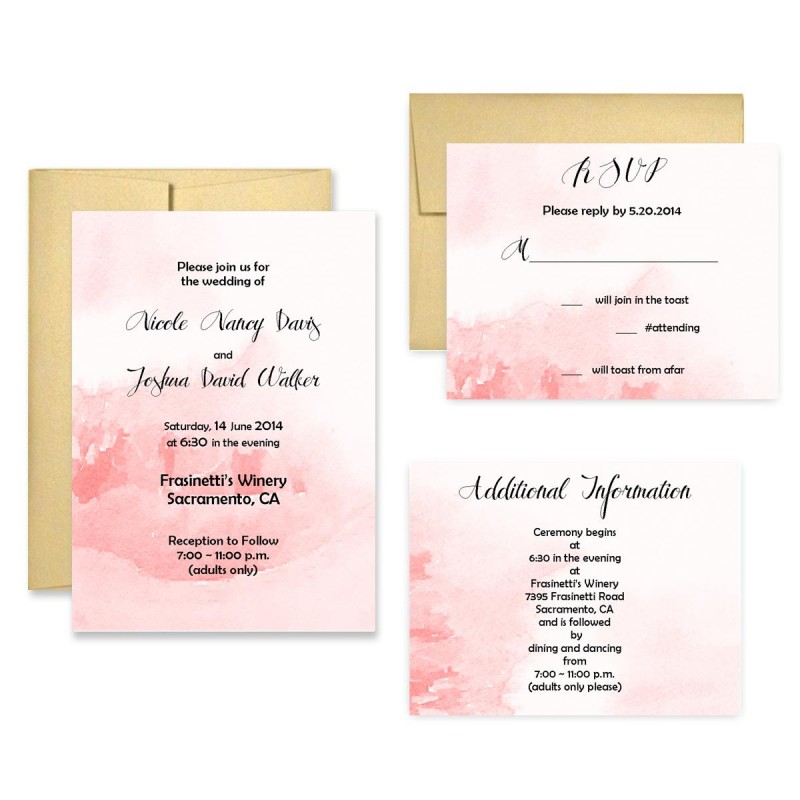 Wedding Invitation Watercolor Wash